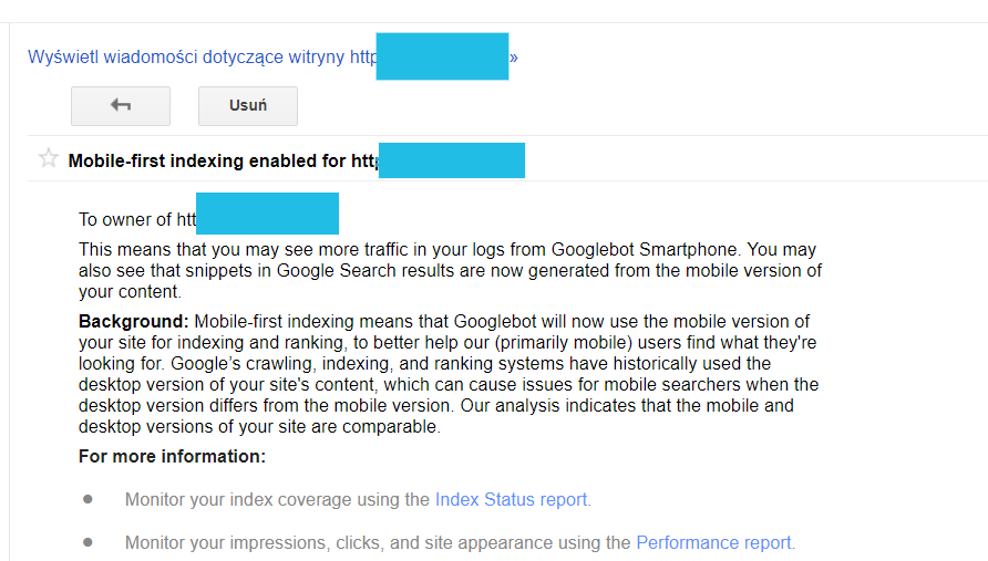 Google Search Console - Mobile First Indexing powiadomienie