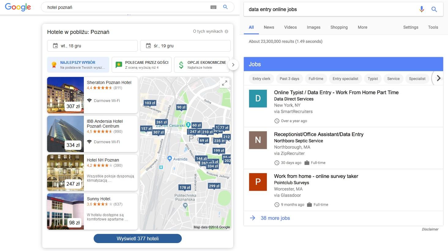 Hotele i oferty pracy w wyszukiwarce Google