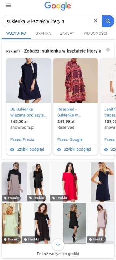 Wyniki wyszukiwania dla zapytania sukienka w kształcie litery A